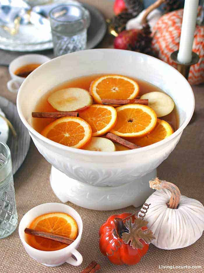 Easy Autumn Spice Punch Recipe with sweet tea, apple juice and fall spices. A perfect Holiday drink for Thanksgiving, a Christmas party or baby shower.