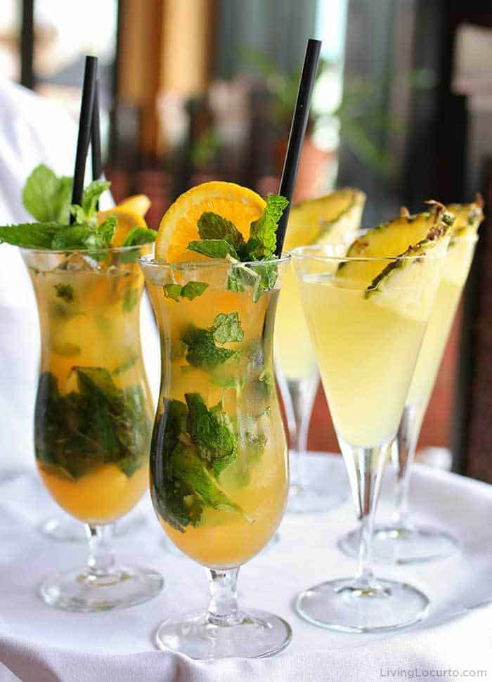 The Cheesecake Factory Passion Mint Fizz and Citrus Sparkler Mocktails