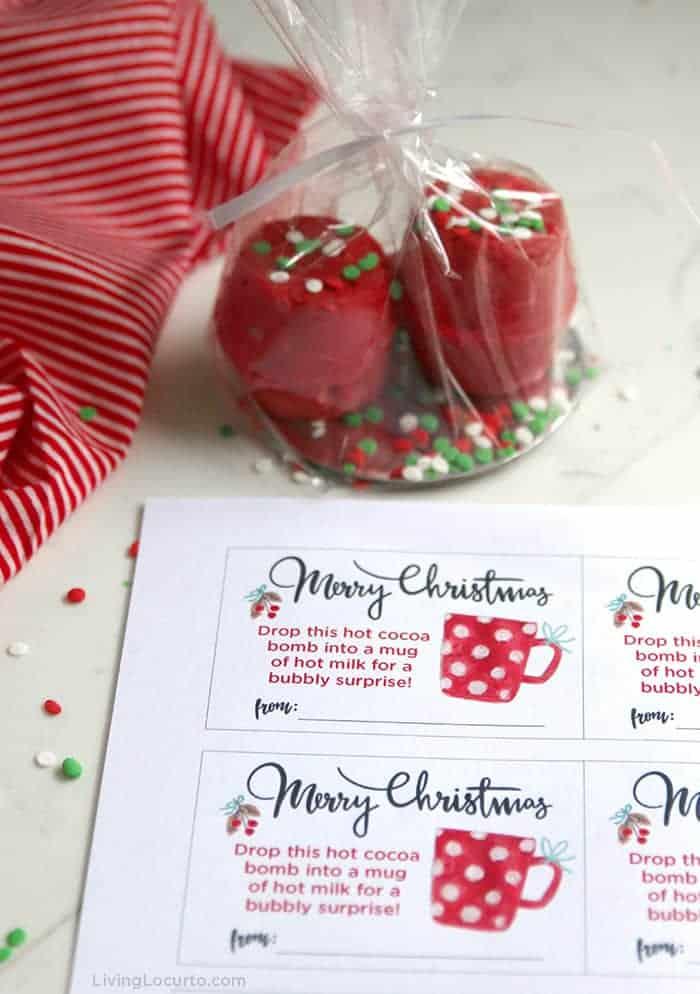 Hot Chocolate Bombs Christmas Gift Tags Free Printable