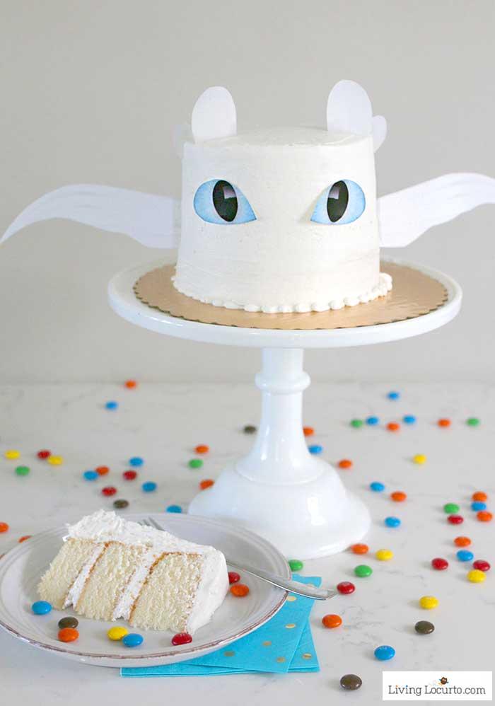 Easy How To Train Your Dragon Cake Tutorial! Fluffy white cake recipe for a Light Fury dragon birthday cake. LivingLocurto.com