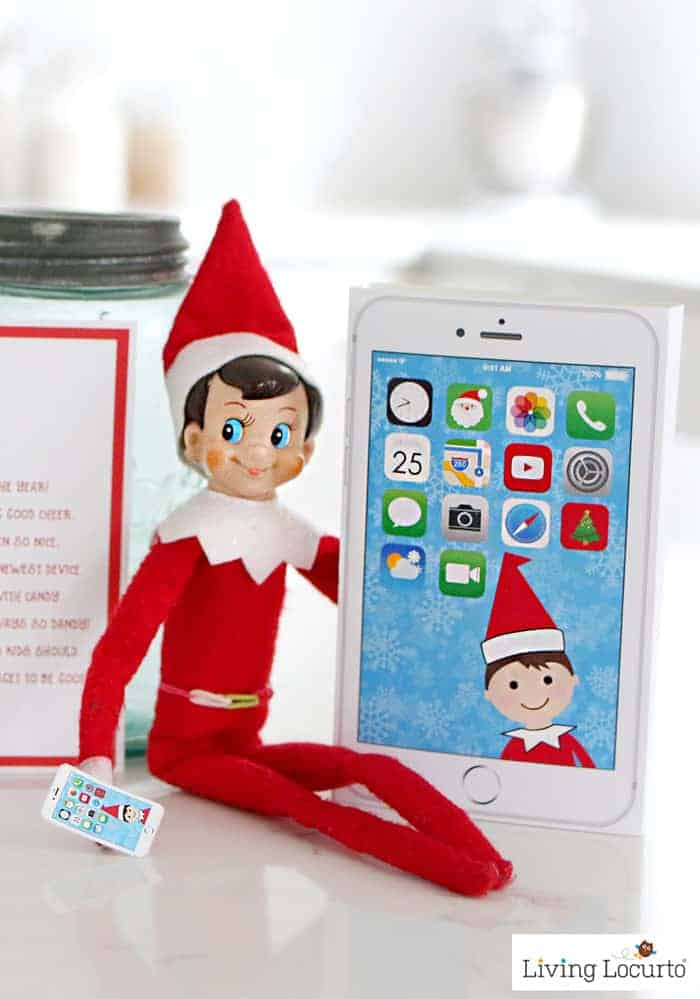 Elf Phone printable and Elf Arrival letter from the North Pole is an adorable Christmas Elf arrival idea! Surprise kids with Santa's iElf X Phone, a magical device powered by candy! LivingLocurto.com