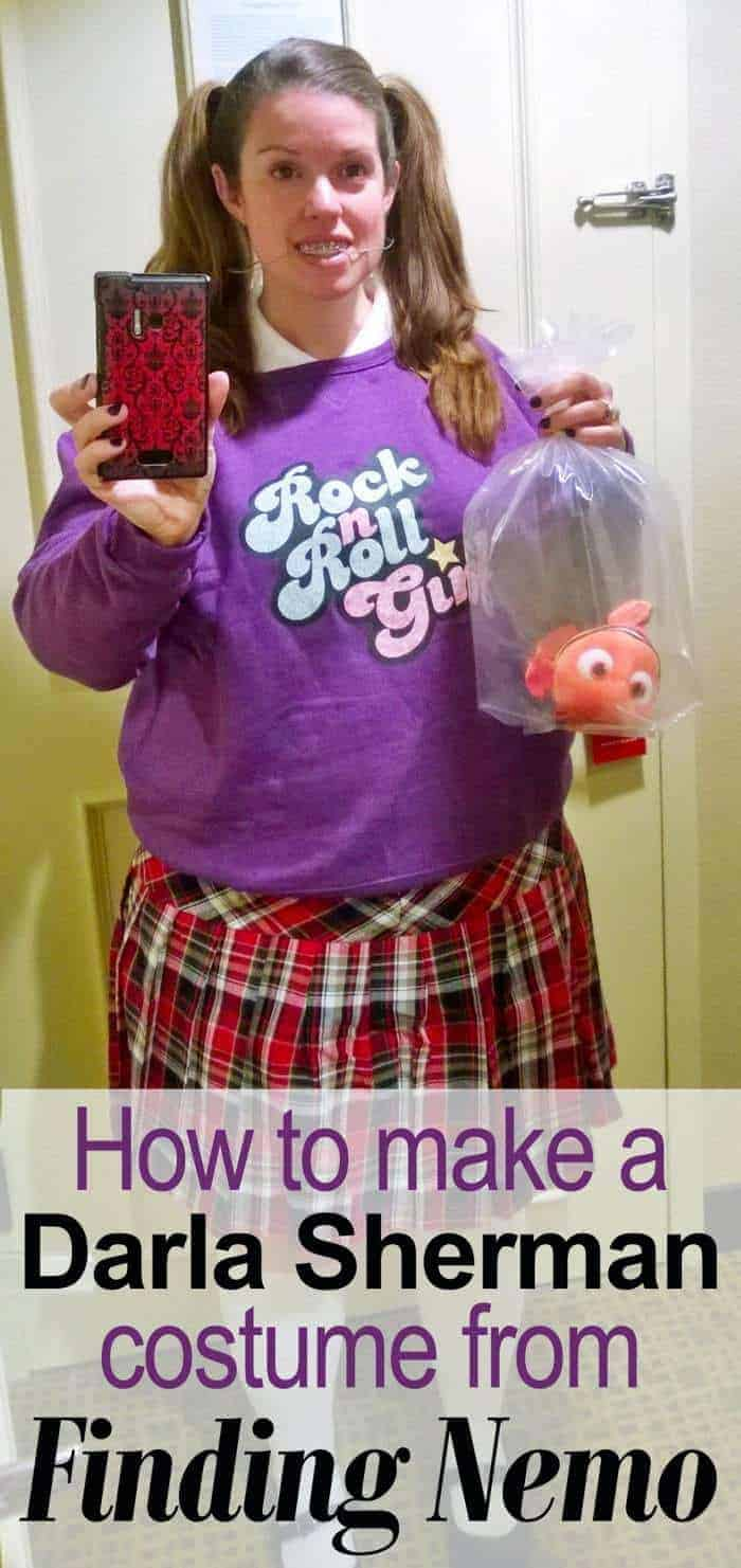 Do you need a quick costume? How about Darla from Finding Nemo? I'm going to tell you everything you need in order to dress up as Darla from Finding Nemo for Halloween! And if you're going to any kind of Disney-themed party (like where I wore this!), it's sure to be a hit! There are lots of different parts to Darla Sherman's costume, and a tiny bit of DIY for the headgear, but if I can do it, anybody can. #Halloween #FindingNemo #costume #Disney #Pixar