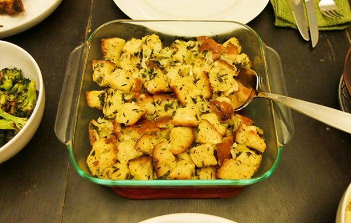 square glass casserole dish of vegetarian stuffing