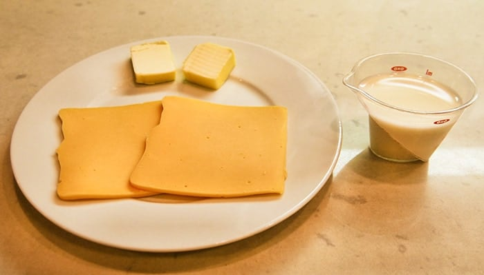cheese, butter, and milk to add to mac and cheese