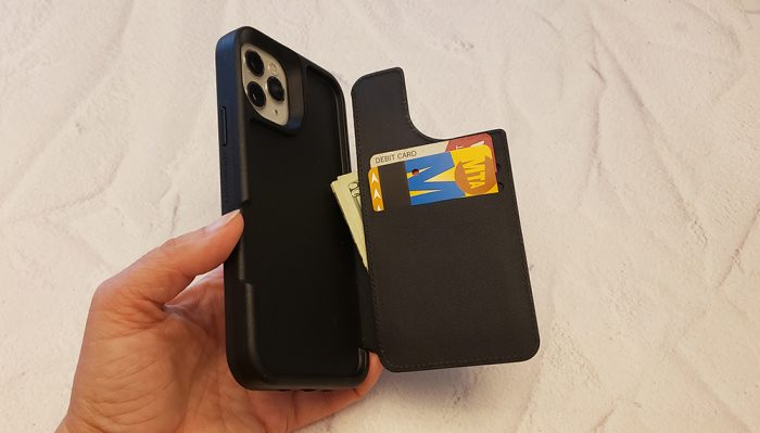 LifeProof FLiP iPhone case - wallet open, with cards and money