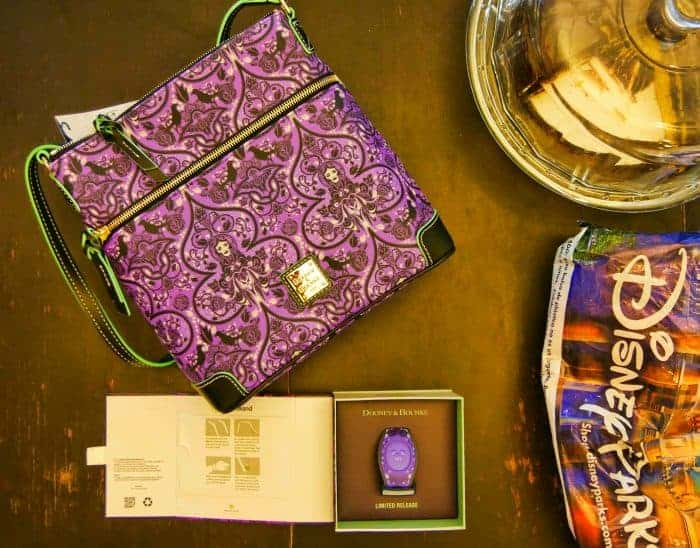 Purple Dooney & Bourke Haunted Mansion purse and purple MagicBand
