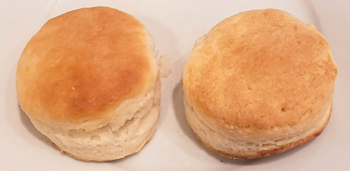 Two biscuits, sone with a smooth top