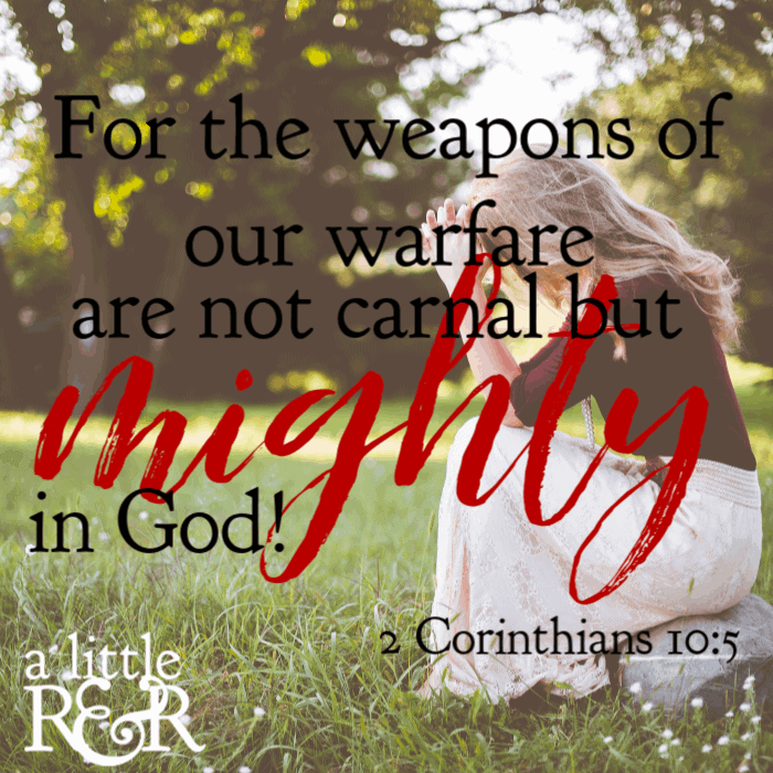 For the weapons of our warfare are not carnal but mighty in God. #alittlerandr #spiritualwarfare #bibleverse #bible #warroom