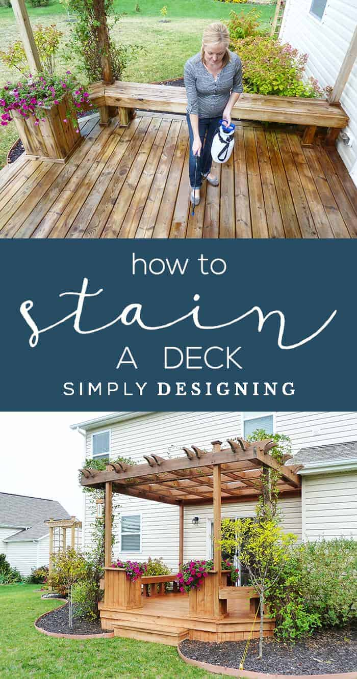 How to Stain a Deck - tips and tricks to easily spray stain a deck - spraying stain on deck