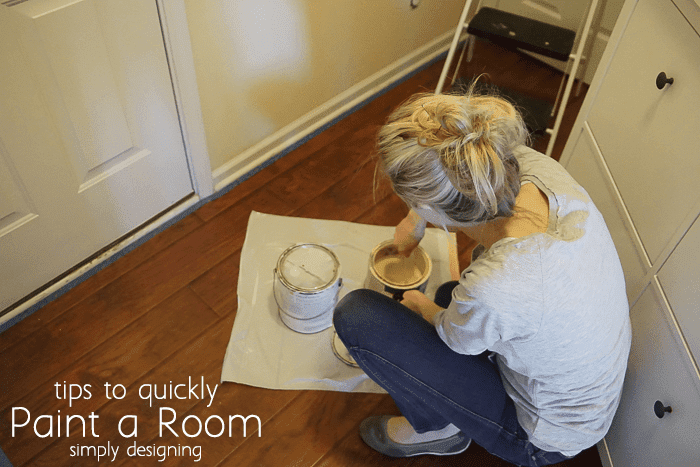 stirring paint to paint a room quickly
