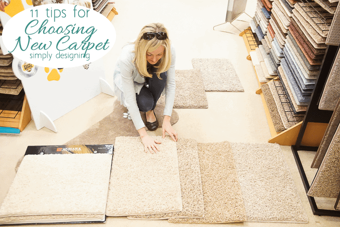 Ashely Phipps from Simply Designing Looking at New Carpet Samples from Mohawk Smartstrand