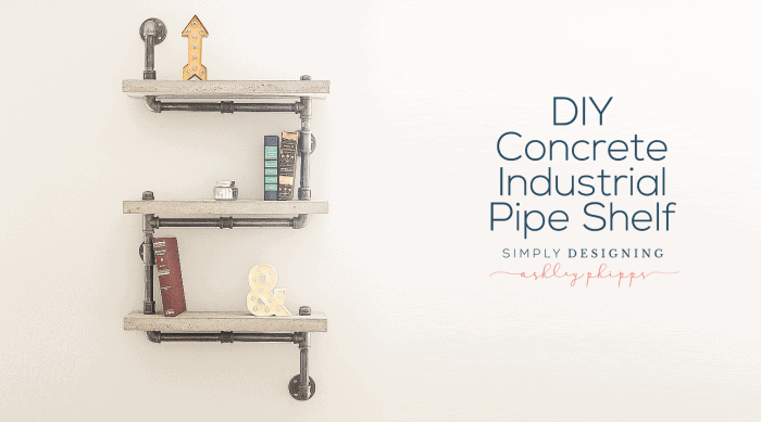 DIY Concrete Industrial Pipe Shelf