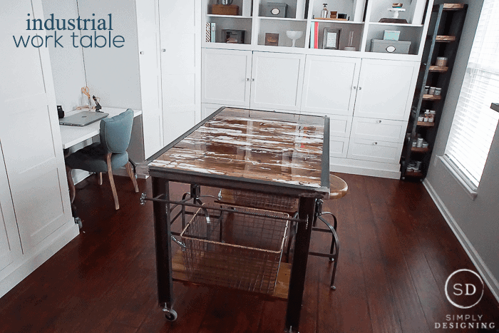 Diy Industrial Work Table With Barn Wood Simply Designing With