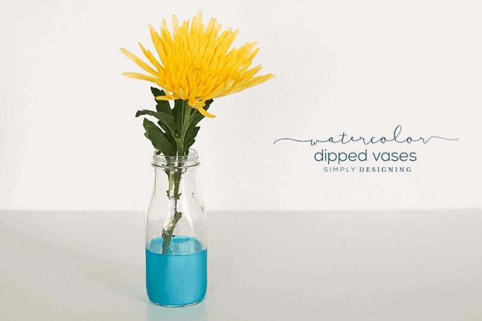 DIY Watercolor Dipped Vases