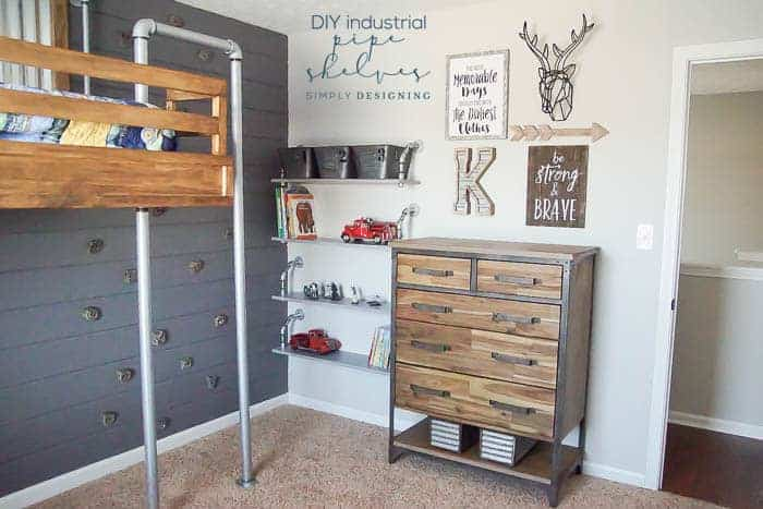 Hanging Industrial Pipe Shelves