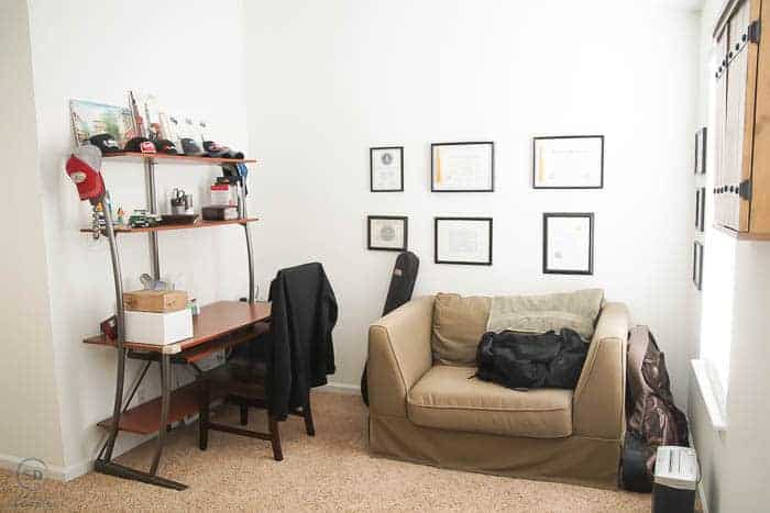Decorating a Man's Office with Farmhouse Design - before