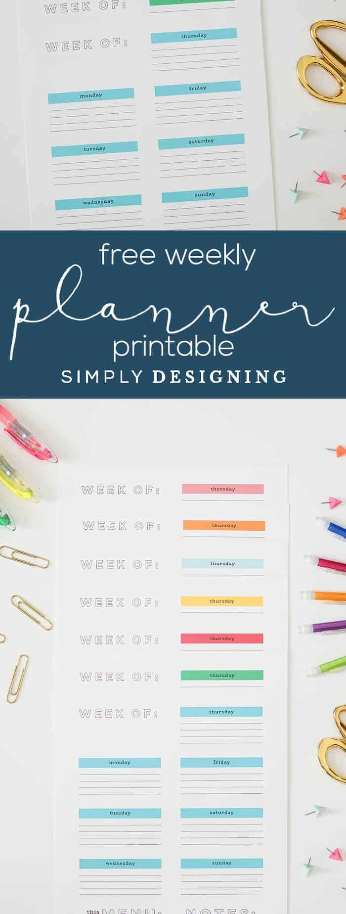 FREE Weekly Printable Planner - this printable weekly calendar is a great way to get organized and you can download it for free