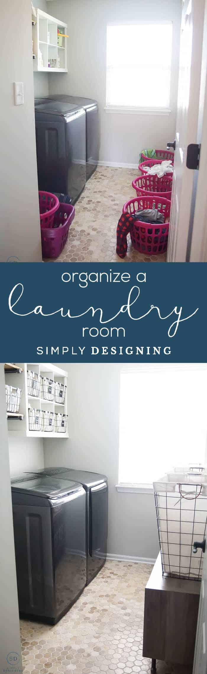 How to Organize a Laundry Room - Laundry Room Makeover - before and after
