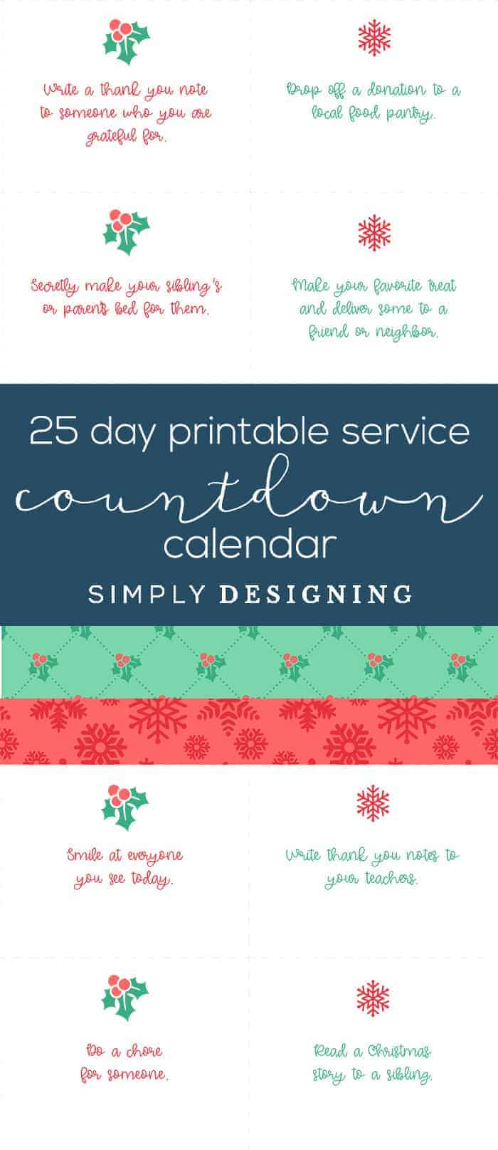 25 Day Free Printable Christmas Countdown Calendar - service countdown calendar - #ad #bhghowiholiday #bhglivebetter #bhgatwalmart @BHGLiveBetter