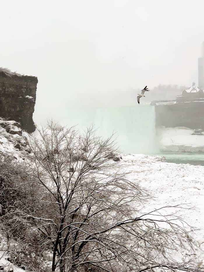 Niagara Falls in the winter from Cave of the Winds Winter Experience