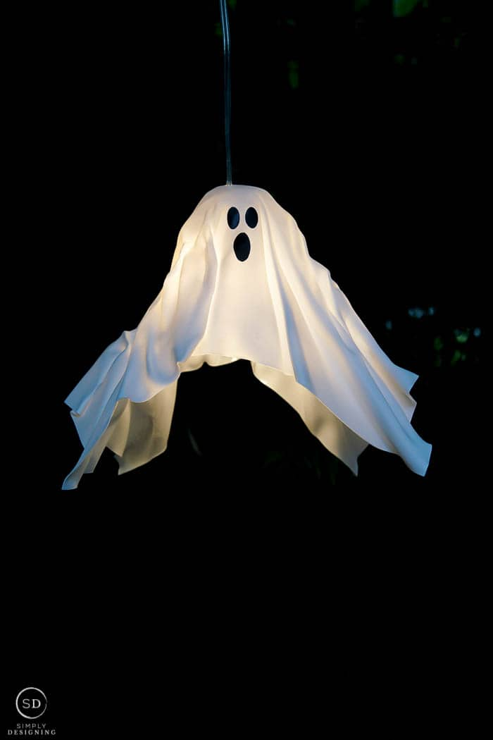 DIY Hanging Ghost Lantern turned on and hanging up