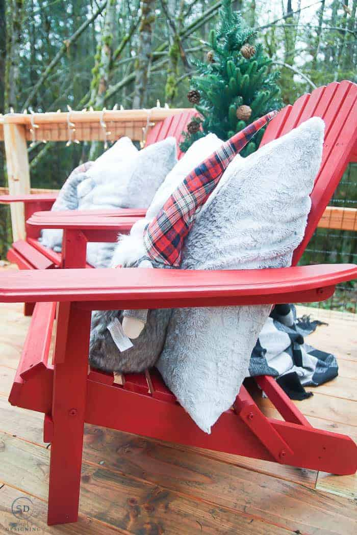 red painted adirondack wood chairs