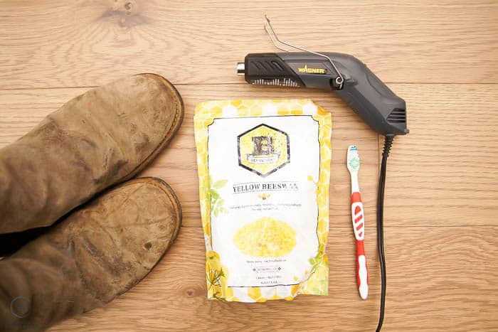 supplies needed for waterproofing leather boots with beeswax