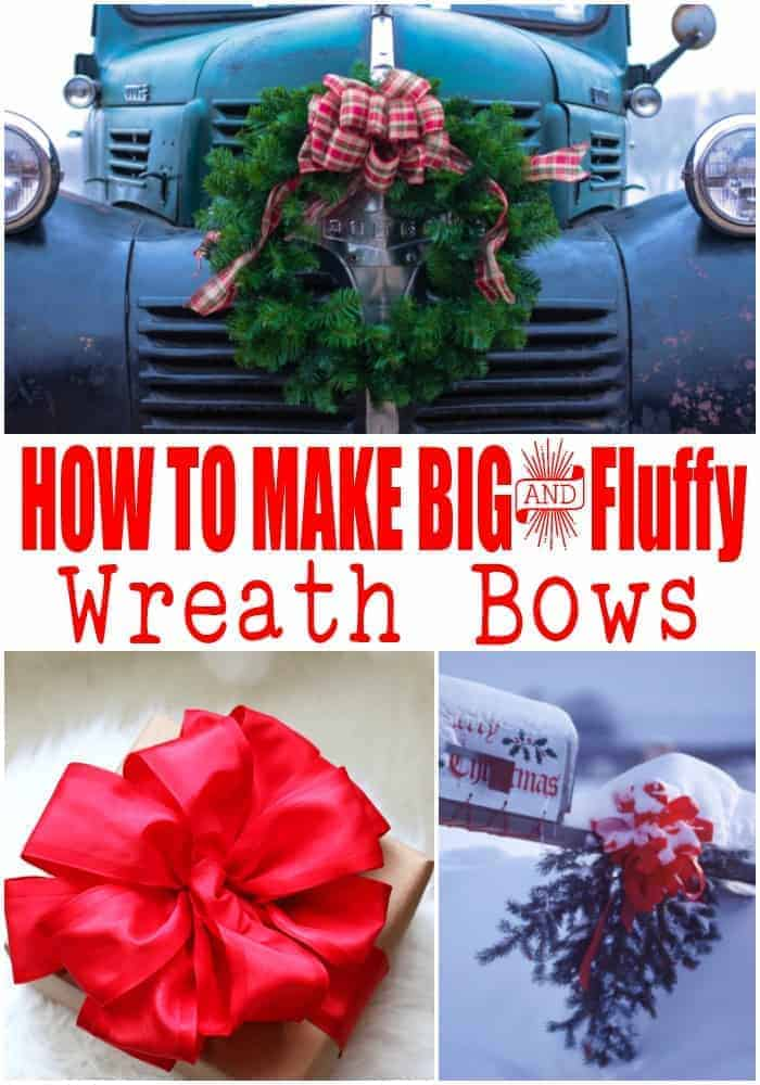 How to make a bow - 3 photos of large bows, two on wreaths and one on an evergreen bough tied to a mailbox for Christmas