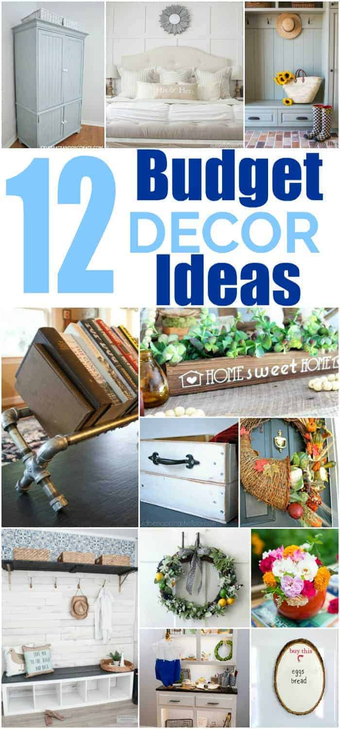 Long collage of 12 home decor ideas on a budget with text that states 12 budget decor ideas