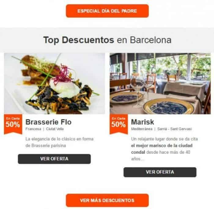 Newsletter Top Descuentos en Barcelona