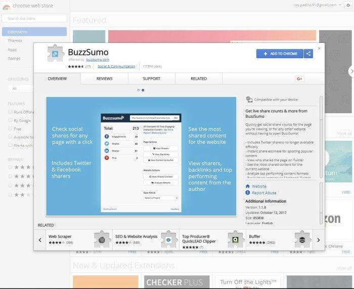 Extensiones SEO para Chrome BuzzSumo
