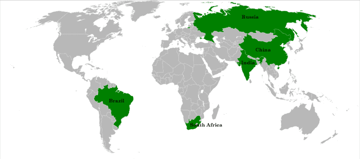 Map showing location of BRICS countries.