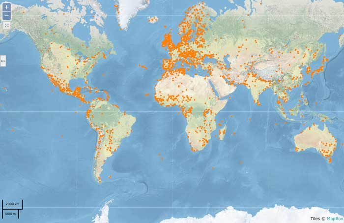 Map showing the 2,227 Wetland of International Importance sites. From: Ramsar.org