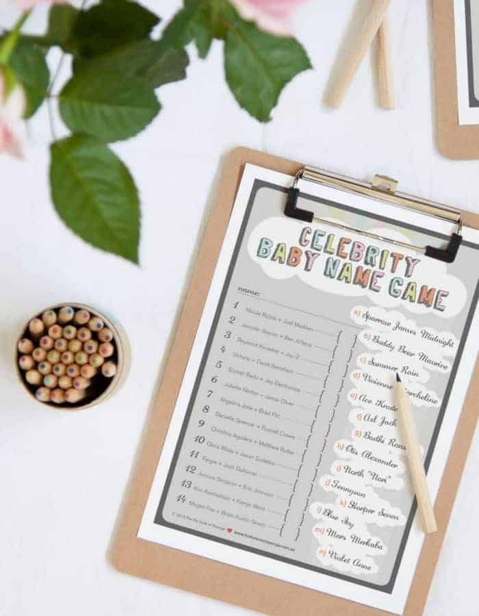 CELEBRITY BABY NAMES - Refreshing baby shower game ideas, printables and more so you can plan the best baby shower! Baby shower games for women, men and couples.