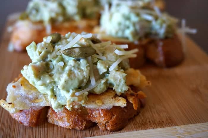 Chicken Salad Crostini with Garlic Parmesan Cilantro Dressing