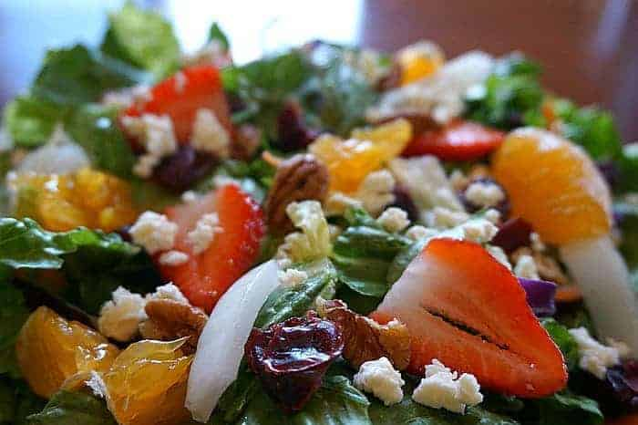 Salad with Fruit Walnuts and Feta Cheese