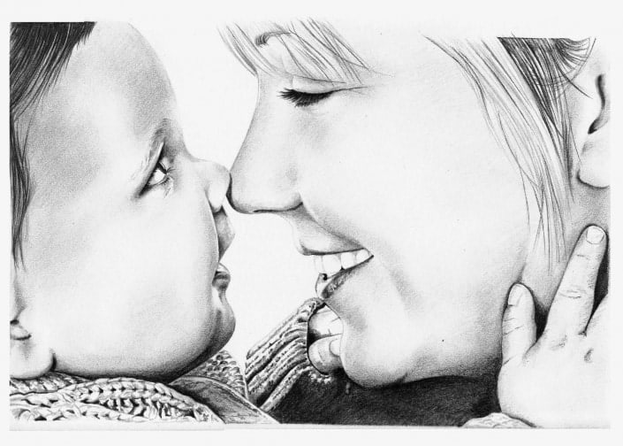Pencil Portrait of Mother and Baby