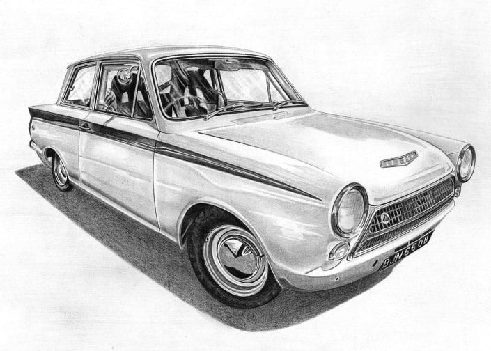 Pencil Drawing of MK1 Ford Cortina