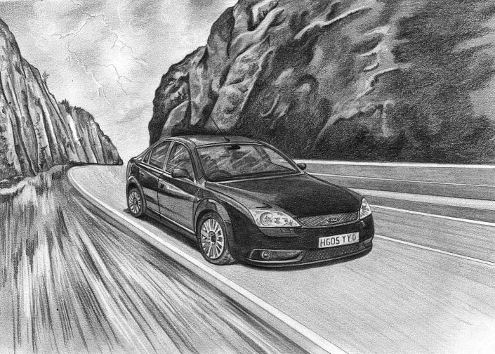 Pencil Drawing of Ford Mondeo