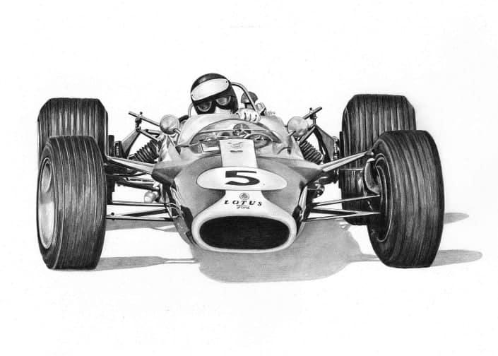 Drawing of Lotus 49 Race Car