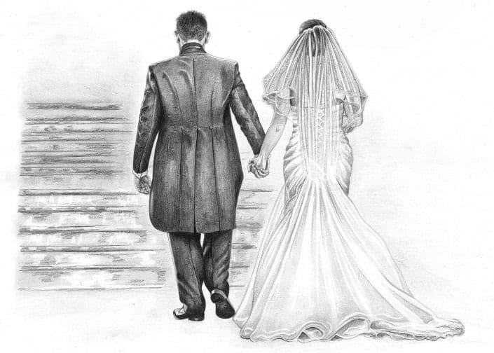 Pencil Sketch of Wedding Couple