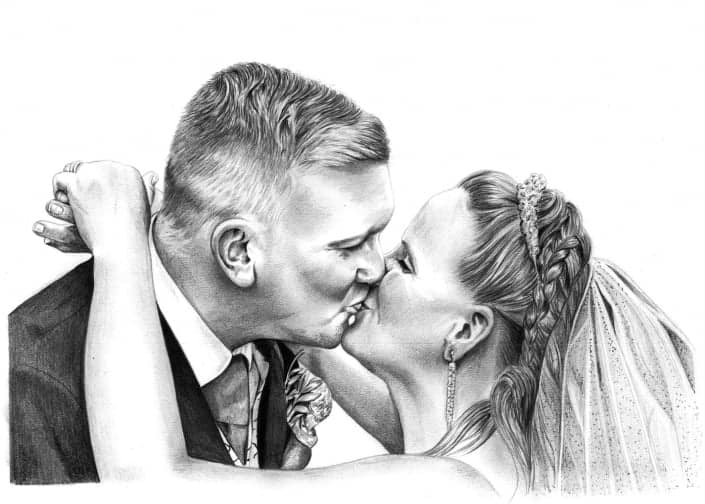 Pencil Drawing of Wedding Day Kiss