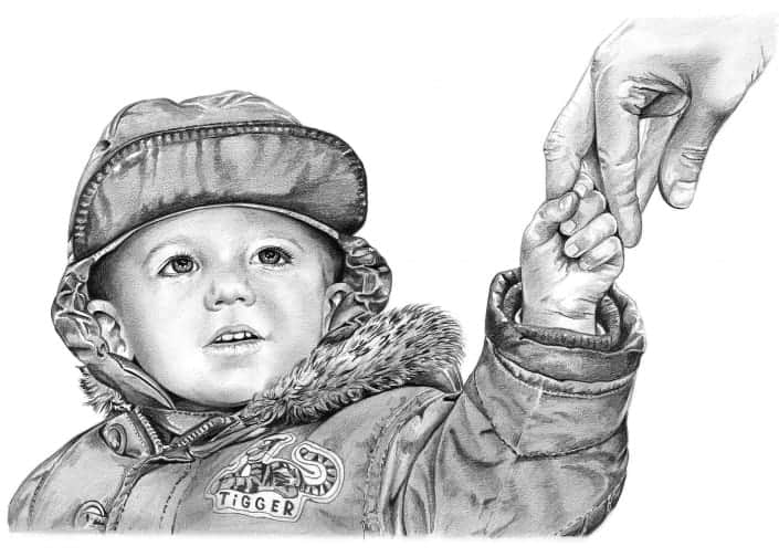 Pencil Portrait of Boy Holding Father's Hand
