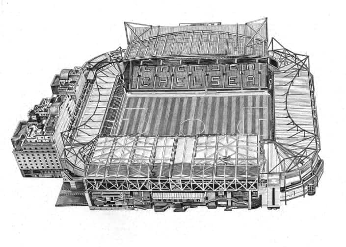 Pencil Drawing of Chelsea Football Ground