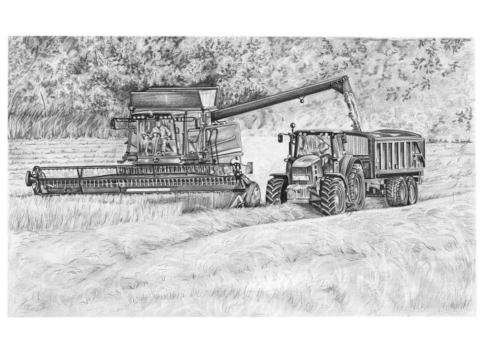Pencil Drawing of Combine Harvester and Tractor