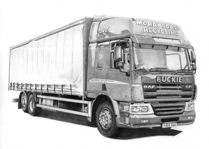 Pencil Drawing of DAF CF Articulated Lorry