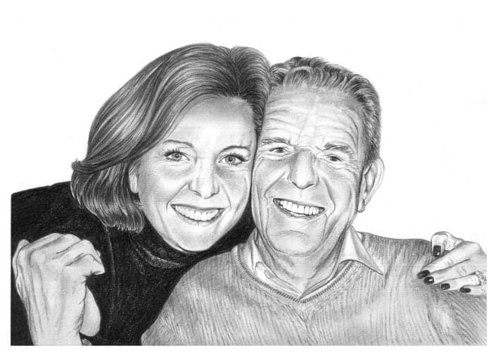 Pencil Portrait of Father and Daughter