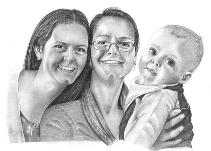 Pencil Drawing of Family