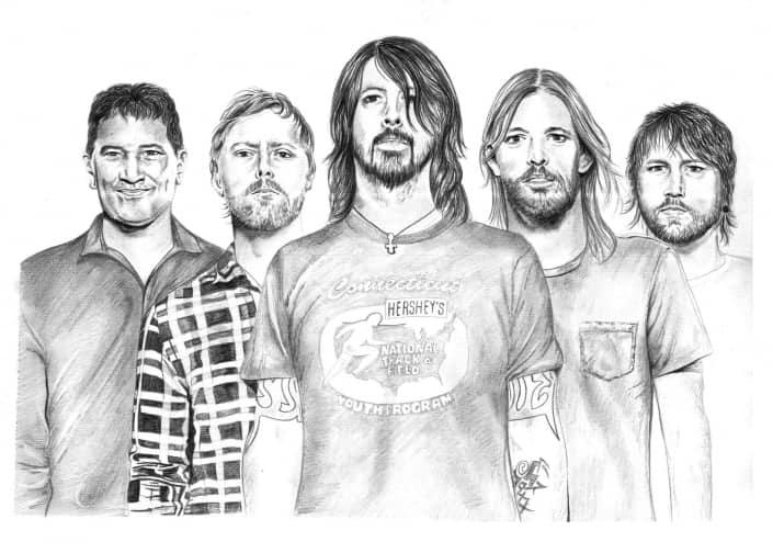 Pencil Portrait of Foo Fighters