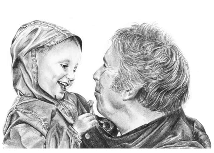 Pencil Portrait of Granddad and Grandson